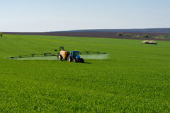 Traktor som besprutar bekämpningsmedlet i en veteåker royaltyfria foton