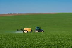 Traktor som besprutar bekämpningsmedlet i en veteåker arkivbild