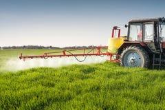 Traktor som besprutar vetefältet Arkivfoton