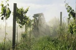 Traktor som besprutar vingården med den svampdödande medelYarra dalen Victoria Australia. Royaltyfria Foton