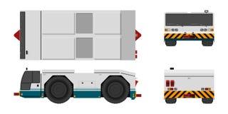 Traktor som bogserar flygplanet Framdel-, sido-, överkant- och baksidasikt Reparation och underhåll av flygplan Flygfälttransport stock illustrationer