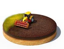 Traktor som förbereder land för att så Royaltyfri Foto