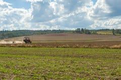 Traktor som plogar i fält Royaltyfri Foto