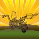 Traktor-Sonnenaufgang lizenzfreie abbildung