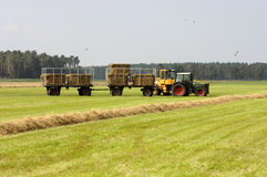 Traktor am Strohernten Lizenzfreie Stockfotografie