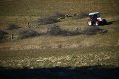 Traktor und einige schnitten Bäume Lizenzfreie Stockfotos