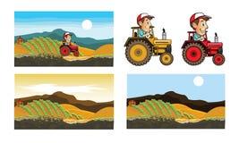 Traktor und Landwirt Cartoon Lizenzfreie Stockfotografie