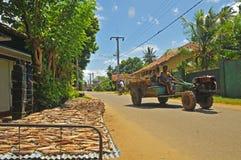 Traktor und trocknende Fische - Dikwella (Sri Lanka) Stockfoto