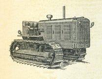 Traktor, Weinlese gravierte Illustration stock abbildung