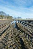Traktorbahnen und -pfützen im schlammigen belgischen Ackerland Stockbilder