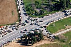Traktoren, die Straße blocken Lizenzfreies Stockfoto