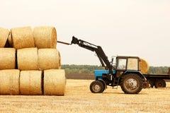 Traktoren lastar av baler av hö i fältet Royaltyfri Fotografi