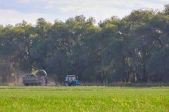Traktoren mejar gräset Fotografering för Bildbyråer