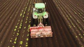 Traktoren odlar landet i fältet arkivfilmer