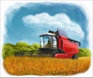 Traktoren på fältet bär vete royaltyfri illustrationer