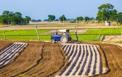 Traktoren plogar fältet Arkivfoton
