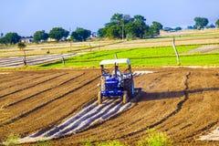 Traktoren plogar fältet Royaltyfri Bild