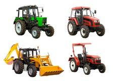 Traktoren und Planierraupeexkavator über Weiß Stockfotos