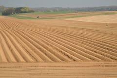 Traktorer plöjer fälten _ Arkivfoton