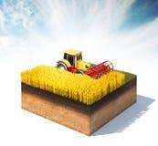 Traktorerntemaschine, die Weizen erntet Lizenzfreies Stockfoto