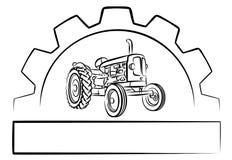 Traktorlogo med ett kugghjulhjul Fotografering för Bildbyråer