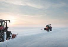 Traktorlokalvårdsnö Royaltyfri Bild