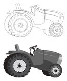 Traktorschattenbild Lizenzfreie Stockfotos