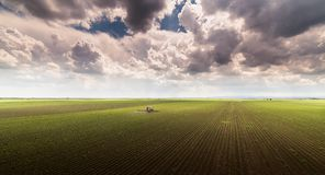 Traktorsprühschädlingsbekämpfungsmittel auf Sojabohnenfeld mit Sprüher am spr Lizenzfreies Stockbild