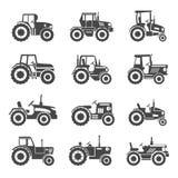 Traktorsymbolsvektor stock illustrationer