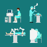 Traktowanie robota mechanicznej operaci móżdżkowy płaski hospita ilustracji