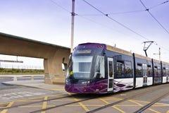 Tram à la station de vacances de côté de mer de Blackpool Images libres de droits