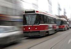 Tram. Street trams on Toronto street in motion blur Stock Image