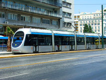 Tram. New modern tram in Athens - summer time stock image