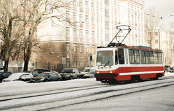 Tram. In city. See my other works in portfolio stock image