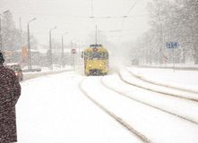 Tram. At a tram stop in the winter Stock Photography
