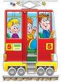 Tram. Clip-art / children's illustration for yours design, postcard, album, cover, scrapbook, etc Royalty Free Stock Photo