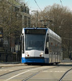 Tram. Driving in Amsterdam, Netherlands Royalty Free Stock Photo