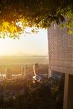 Tram aérien à Portland, Orégon pendant le lever de soleil de matin Photos libres de droits