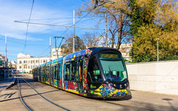 Tram Alstom-CITADIS 402 in Montpellier, Frankreich lizenzfreies stockbild