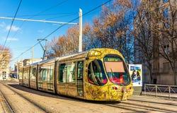 Tram Alstom-CITADIS 302 in Montpellier, Frankreich stockfotografie