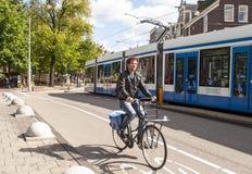 Tram in Amsterdam Stock Photos