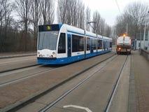 Tram in Amsterdam Holland stock afbeeldingen