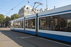 Tram in Amsterdam the Netherlands. Tram in the streets from Amsterdam in  the Netherlands Royalty Free Stock Images