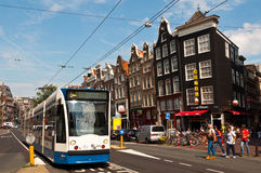 Tram in Amsterdam Royalty Free Stock Photo