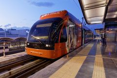 Tram of AntRay on the station Airport in Antalya, Turkey Royalty Free Stock Photo