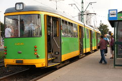 Tram arrival Royalty Free Stock Images