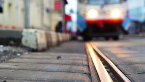 Tram arrival stock video