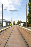 Tram arriving station Royalty Free Stock Photography