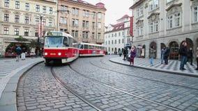 Tram arriving at tne Prague street stock footage