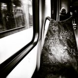 In the tram. Artistic look in black and white. Royalty Free Stock Photo